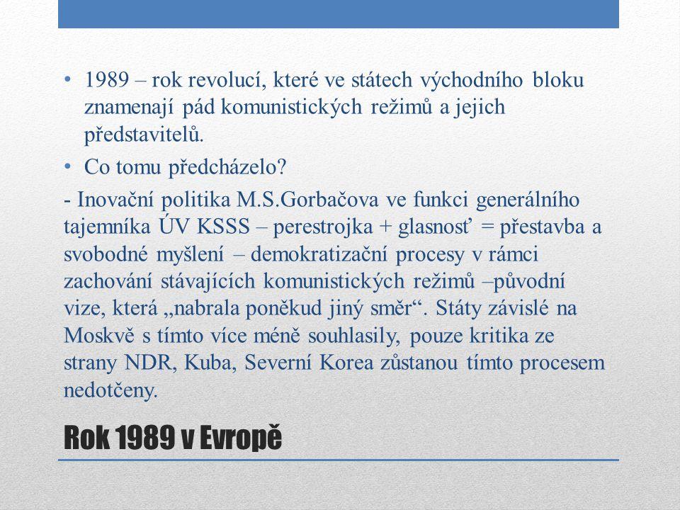 Pád komunistických režimů v jednotlivých státech POLSKO – občanské nepokoje, demonstrace od listopadu 1988, jaro 1989 jednání komun.vlády a hnutí Solidarita u kulatého stolu, v květnu ve Varšavě protisovětské demonstrace.