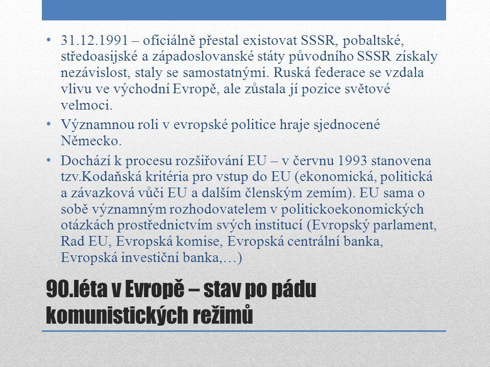 90.léta v Evropě – stav po pádu komunistických režimů 31.12.1991 – oficiálně přestal existovat SSSR, pobaltské, středoasijské a západoslovanské státy