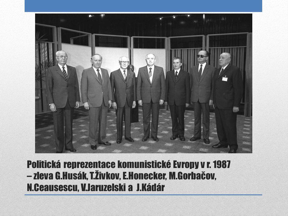 Politická reprezentace komunistické Evropy v r. 1987 – zleva G.Husák, T.Živkov, E.Honecker, M.Gorbačov, N.Ceausescu, V.Jaruzelski a J.Kádár