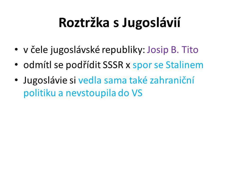 Roztržka s Jugoslávií v čele jugoslávské republiky: Josip B. Tito odmítl se podřídit SSSR x spor se Stalinem Jugoslávie si vedla sama také zahraniční