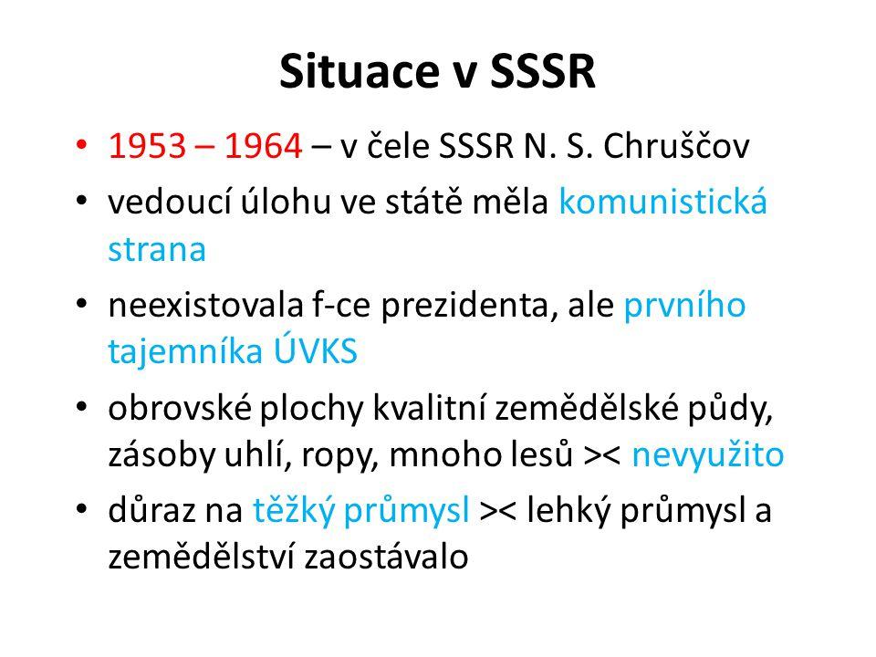 Situace v SSSR 1953 – 1964 – v čele SSSR N. S. Chruščov vedoucí úlohu ve státě měla komunistická strana neexistovala f-ce prezidenta, ale prvního taje