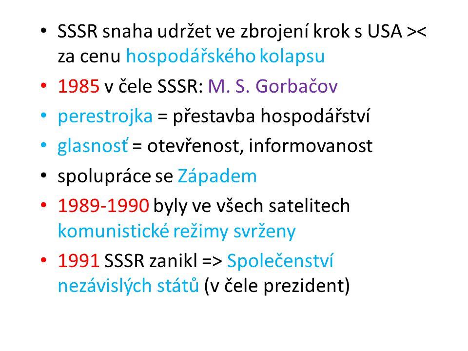 SSSR snaha udržet ve zbrojení krok s USA >< za cenu hospodářského kolapsu 1985 v čele SSSR: M. S. Gorbačov perestrojka = přestavba hospodářství glasno