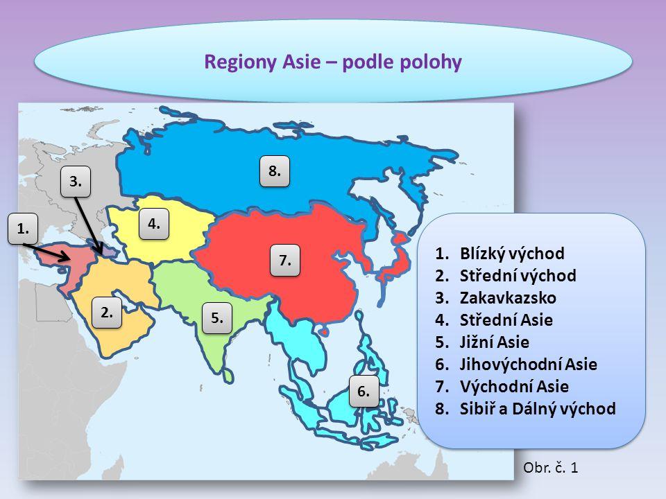 Regiony Asie – podle polohy 1. 2. 3. 4. 5. 6. 7. 8. 1.Blízký východ 2.Střední východ 3.Zakavkazsko 4.Střední Asie 5.Jižní Asie 6.Jihovýchodní Asie 7.V