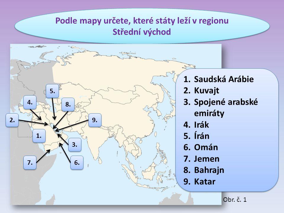 Podle mapy určete, které státy leží v regionu Střední východ 1.Saudská Arábie 2.Kuvajt 3.Spojené arabské emiráty 4.Irák 5.Írán 6.Omán 7.Jemen 8.Bahraj