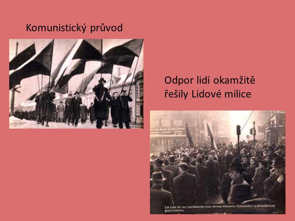 Komunistický průvod Odpor lidí okamžitě řešily Lidové milice