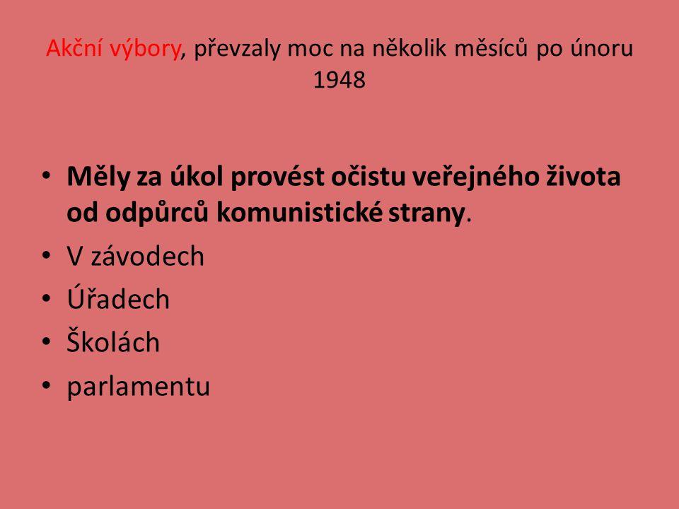Akční výbory, převzaly moc na několik měsíců po únoru 1948 Měly za úkol provést očistu veřejného života od odpůrců komunistické strany.