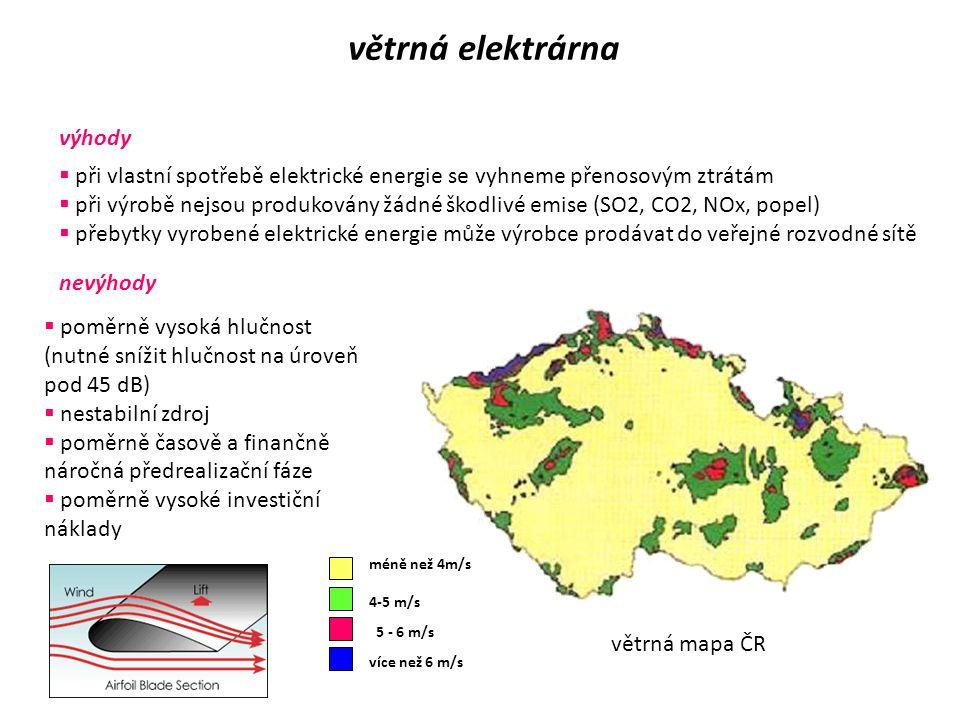 větrná elektrárna  využívá obnovitelný zdroj energie - vítr  vhodné lokality – rychlost větru alespoň 5m/s Rozdělení větrných elektráren podle výkon