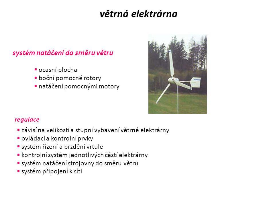 Části větrné elektrárny větrná elektrárna převodovka  používá se tam, kde je velký rozdíl mezi jmenovitými otáčkami rotoru a generátoru generátor  p