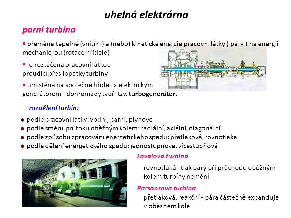 VODA A PÁRA uhelná elektrárna  obíhá v hlavním uzavřeném okruhu kotel - turbína - kondenzátor – kotel  chemicky upravená – nesmí obsahovat žádné zby