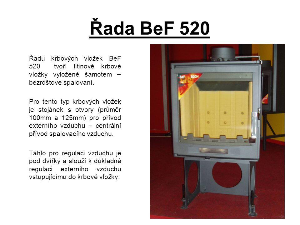 Řada BeF 520 Řadu krbových vložek BeF 520 tvoří litinové krbové vložky vyložené šamotem – bezroštové spalování. Pro tento typ krbových vložek je stojá