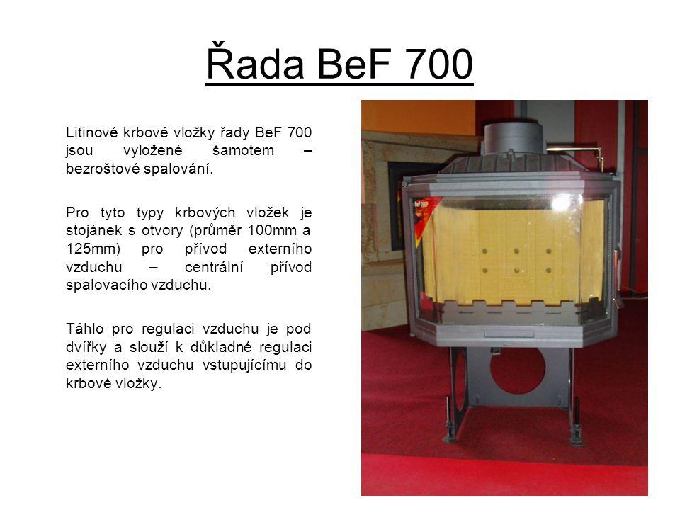 Řada BeF 700 Litinové krbové vložky řady BeF 700 jsou vyložené šamotem – bezroštové spalování. Pro tyto typy krbových vložek je stojánek s otvory (prů