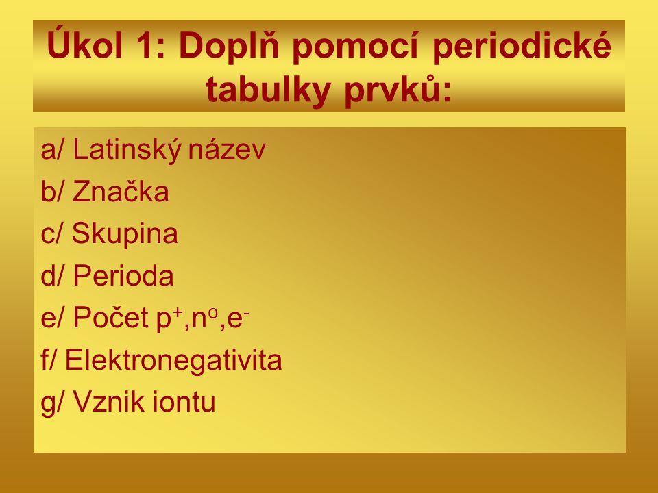 Kontrola úkolu 1 a/ Sulphur b/ S c/ VI.A d/ 3 e/ 16, 16, 16 f/ 2,4 g/ S o + 2e - → S -II