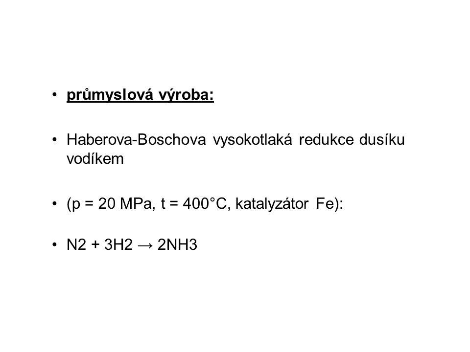 průmyslová výroba: Haberova-Boschova vysokotlaká redukce dusíku vodíkem (p = 20 MPa, t = 400°C, katalyzátor Fe): N2 + 3H2 → 2NH3