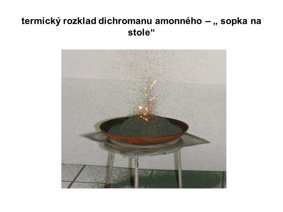 """termický rozklad dichromanu amonného – """" sopka na stole"""""""