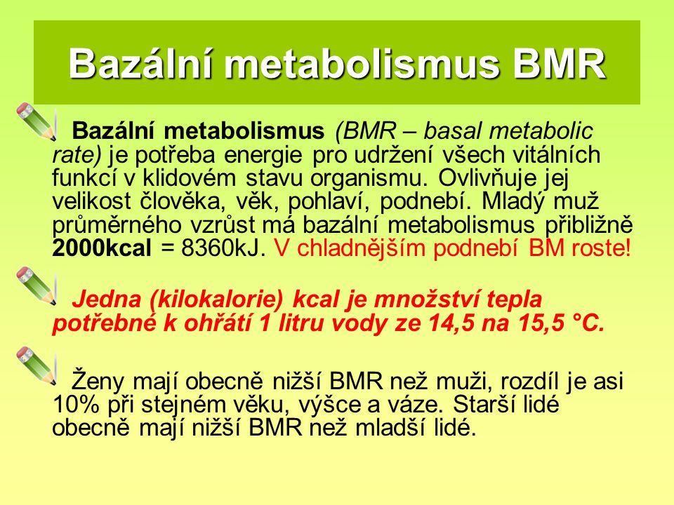 Bazální metabolismus BMR Bazální metabolismus (BMR – basal metabolic rate) je potřeba energie pro udržení všech vitálních funkcí v klidovém stavu orga
