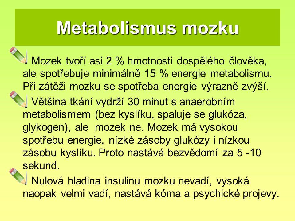 Metabolismus mozku Mozek tvoří asi 2 % hmotnosti dospělého člověka, ale spotřebuje minimálně 15 % energie metabolismu. Při zátěži mozku se spotřeba en