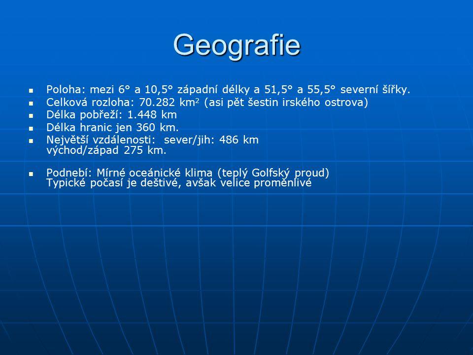 Geografie Poloha: mezi 6° a 10,5° západní délky a 51,5° a 55,5° severní šířky. Celková rozloha: 70.282 km 2 (asi pět šestin irského ostrova) Délka pob