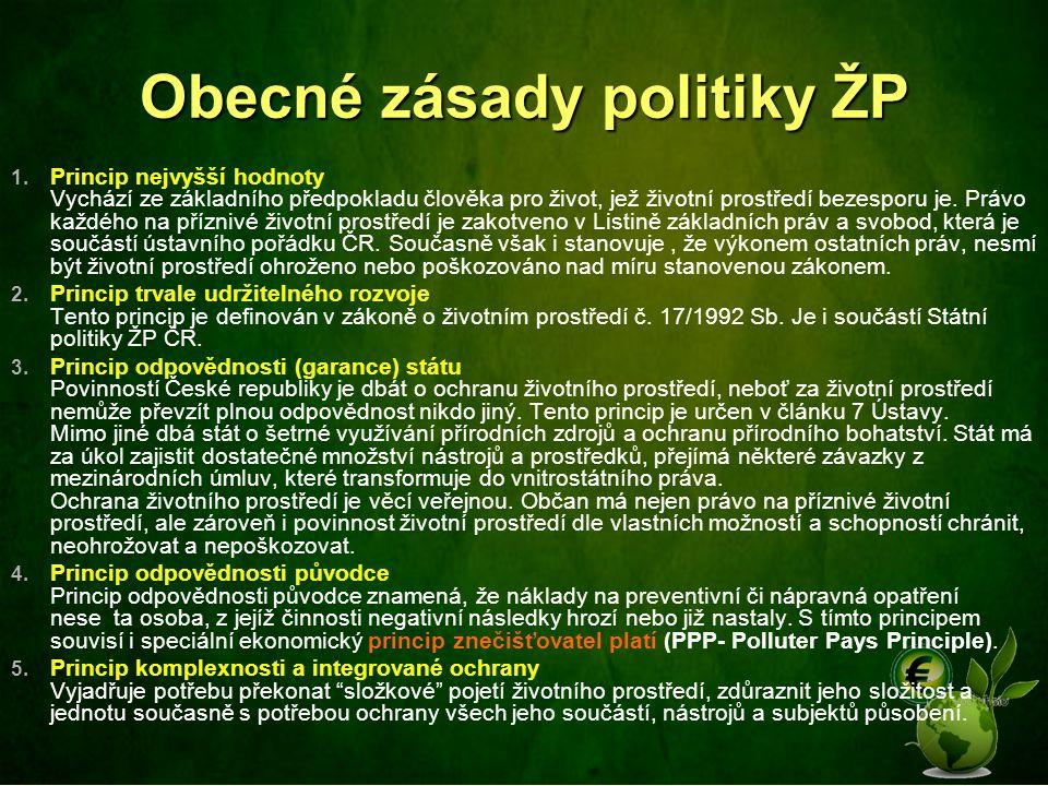 Obecné zásady politiky ŽP 1. Princip nejvyšší hodnoty Vychází ze základního předpokladu člověka pro život, jež životní prostředí bezesporu je. Právo k