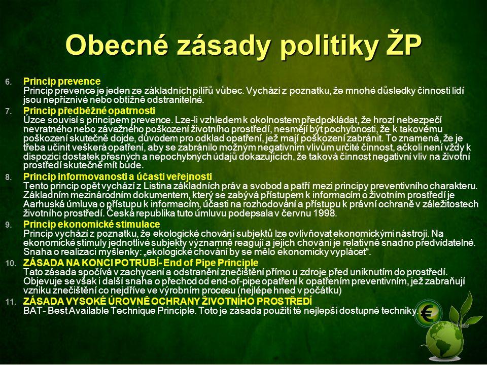 Obecné zásady politiky ŽP 6. Princip prevence Princip prevence je jeden ze základních pilířů vůbec. Vychází z poznatku, že mnohé důsledky činnosti lid