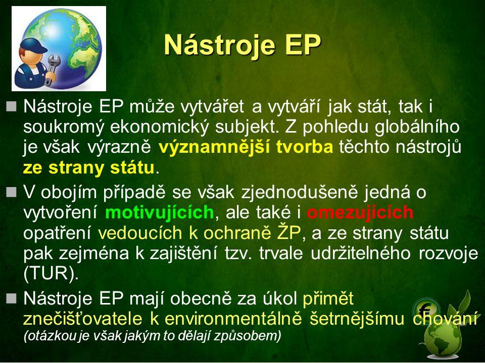 Nástroje EP Nástroje EP může vytvářet a vytváří jak stát, tak i soukromý ekonomický subjekt. Z pohledu globálního je však výrazně významnější tvorba t