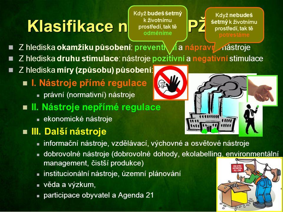 Klasifikace nástrojů PŽP Z hlediska okamžiku působení: preventivní a nápravné nástroje Z hlediska druhu stimulace: nástroje pozitivní a negativní stim