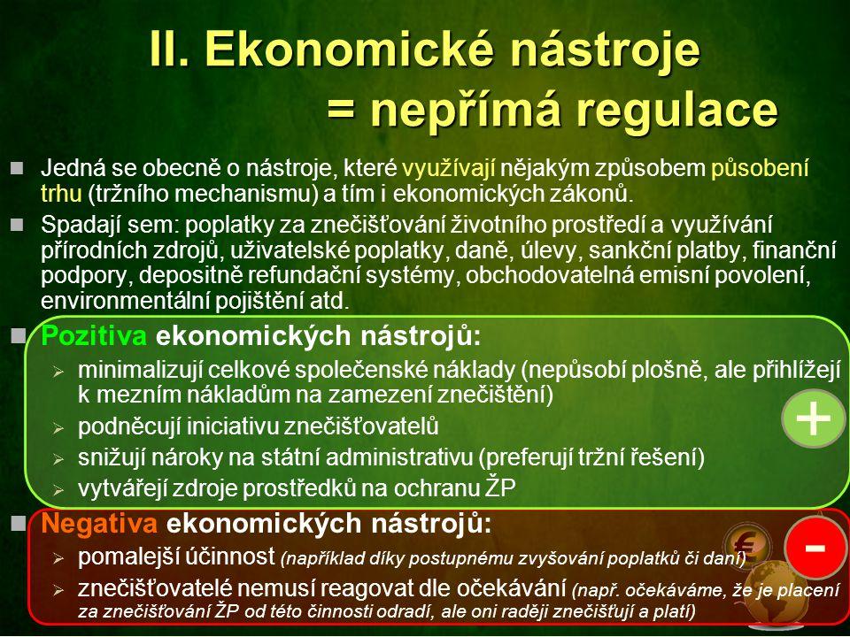 II. Ekonomické nástroje = nepřímá regulace Jedná se obecně o nástroje, které využívají nějakým způsobem působení trhu (tržního mechanismu) a tím i eko