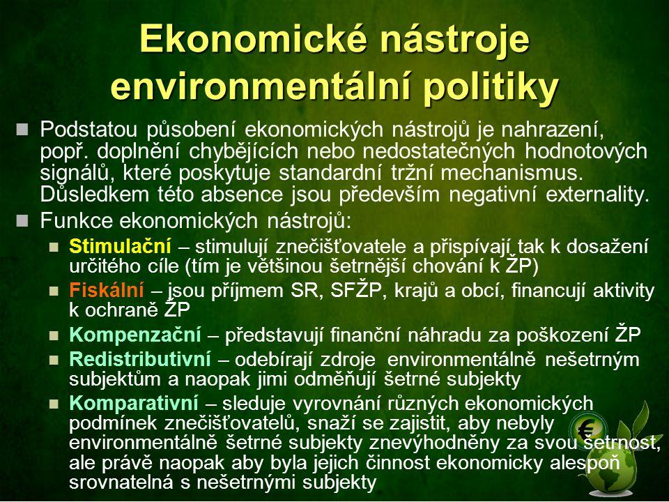 Ekonomické nástroje environmentální politiky Podstatou působení ekonomických nástrojů je nahrazení, popř. doplnění chybějících nebo nedostatečných hod