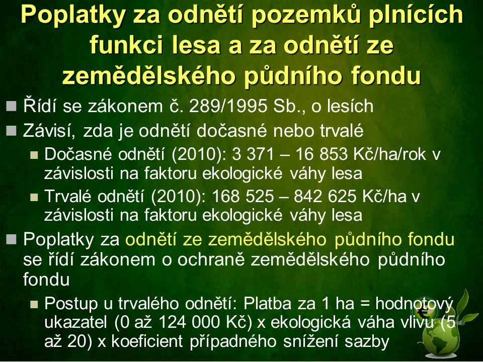 Poplatky za odnětí pozemků plnících funkci lesa a za odnětí ze zemědělského půdního fondu Řídí se zákonem č. 289/1995 Sb., o lesích Závisí, zda je odn