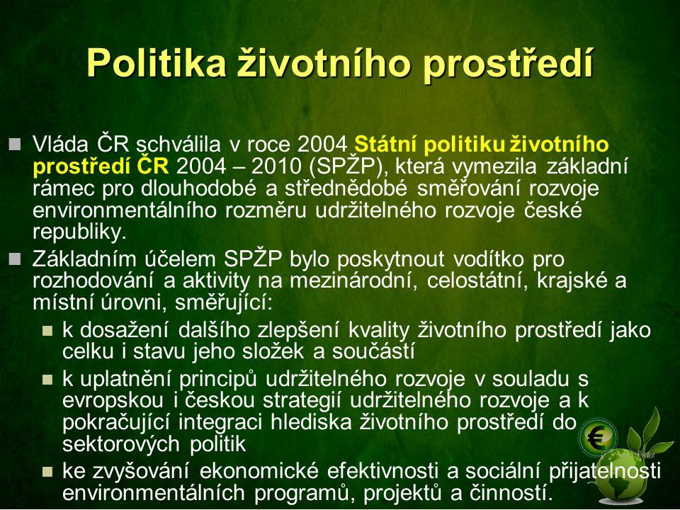 Politika životního prostředí Vláda ČR schválila v roce 2004 Státní politiku životního prostředí ČR 2004 – 2010 (SPŽP), která vymezila základní rámec p