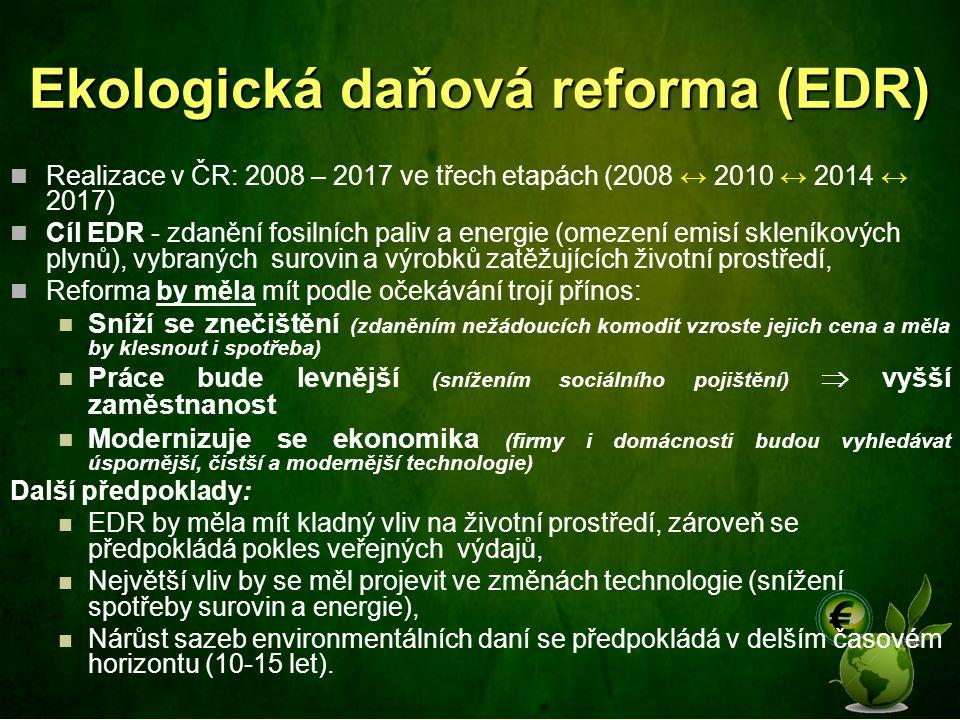 Realizace v ČR: 2008 – 2017 ve třech etapách (2008 ↔ 2010 ↔ 2014 ↔ 2017) Cíl EDR - zdanění fosilních paliv a energie (omezení emisí skleníkových plynů
