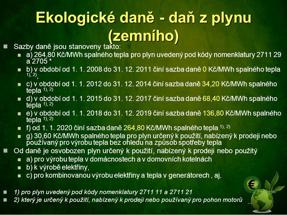 Ekologické daně - daň z plynu (zemního) Sazby daně jsou stanoveny takto: a) 264,80 Kč/MWh spalného tepla pro plyn uvedený pod kódy nomenklatury 2711 2