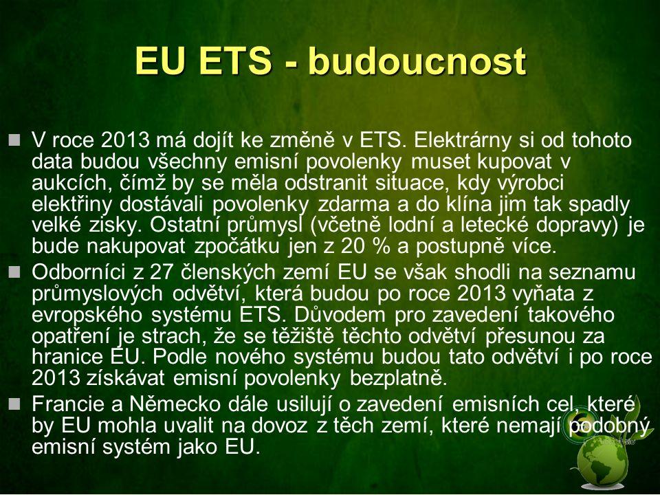 EU ETS - budoucnost V roce 2013 má dojít ke změně v ETS. Elektrárny si od tohoto data budou všechny emisní povolenky muset kupovat v aukcích, čímž by