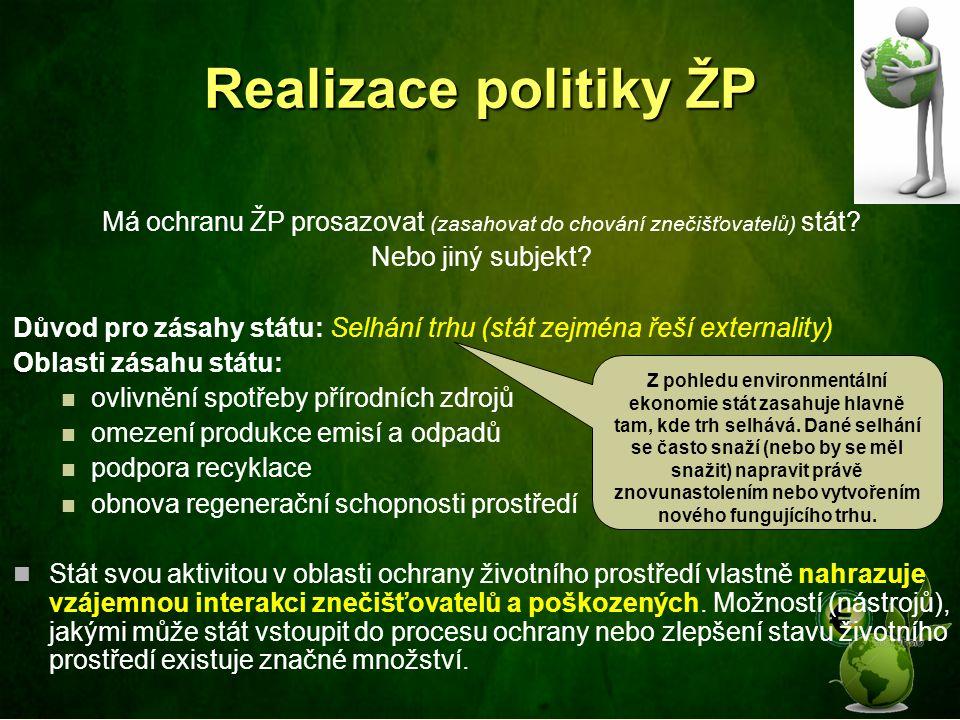 Realizace politiky ŽP Má ochranu ŽP prosazovat (zasahovat do chování znečišťovatelů) stát? Nebo jiný subjekt? Důvod pro zásahy státu: Selhání trhu (st