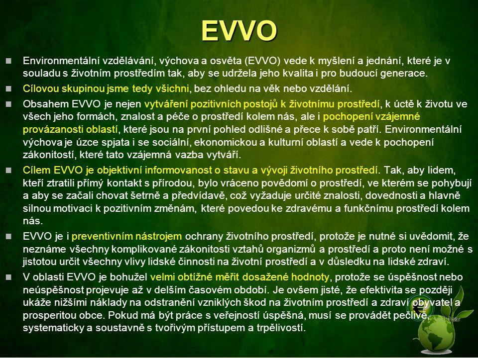 EVVO Environmentální vzdělávání, výchova a osvěta (EVVO) vede k myšlení a jednání, které je v souladu s životním prostředím tak, aby se udržela jeho k