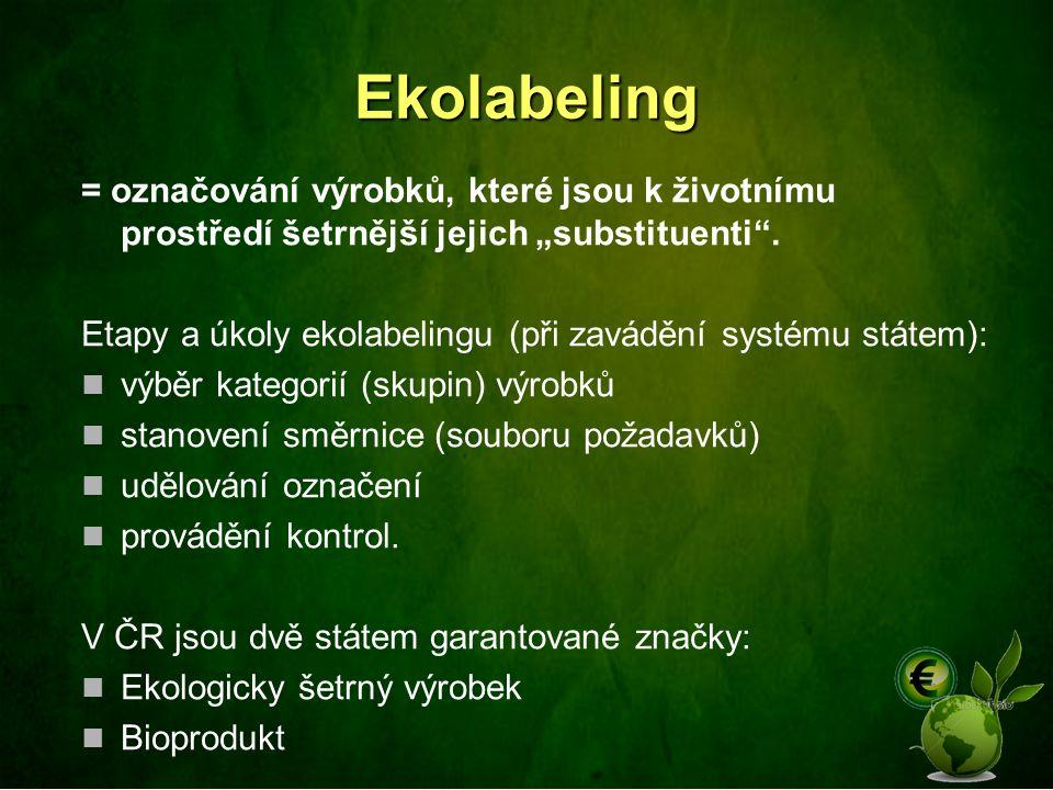 """Ekolabeling = označování výrobků, které jsou k životnímu prostředí šetrnější jejich """"substituenti"""". Etapy a úkoly ekolabelingu (při zavádění systému s"""