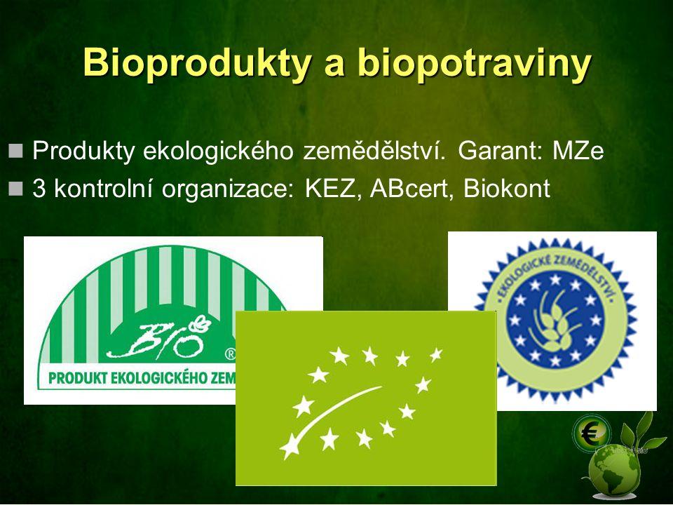 Bioprodukty a biopotraviny Produkty ekologického zemědělství. Garant: MZe 3 kontrolní organizace: KEZ, ABcert, Biokont