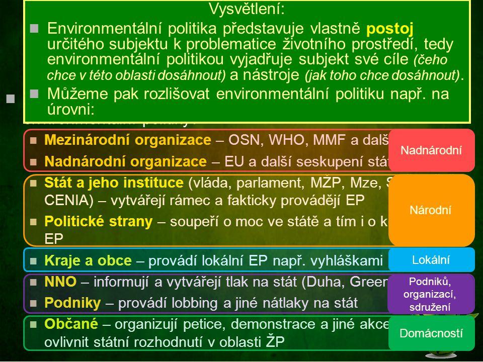 Realizace politiky ŽP Z hlediska úrovně můžeme rozlišovat hlavně Národní (globální) politiku ŽP – realizována na úrovni centrální státní správy nebo na mezinárodní úrovni Lokální politiku ŽP – realizována na úrovni krajů nebo spíše obcí obvykle místními samosprávnými orgány Zejména u významných znečišťovatelů je důležitá také podniková politika ŽP, která se vytváří na úrovni jednotlivých podniků a prezentuje jednotnou celopodnikovou koncepci řešení problematiky ŽP.