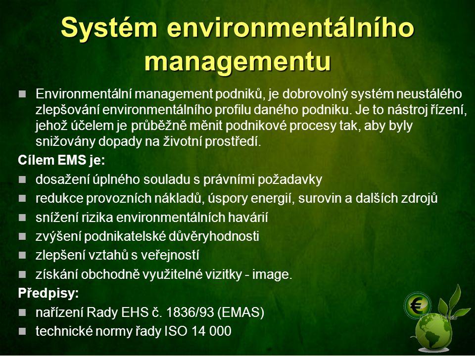 Systém environmentálního managementu Environmentální management podniků, je dobrovolný systém neustálého zlepšování environmentálního profilu daného p