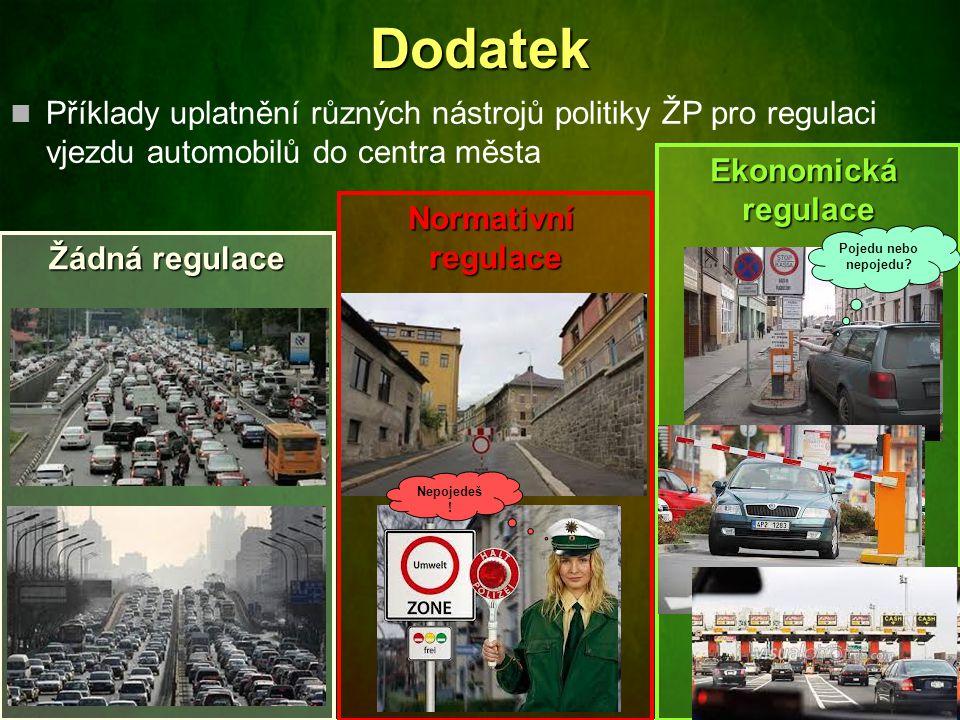 Příklady uplatnění různých nástrojů politiky ŽP pro regulaci vjezdu automobilů do centra města Žádná regulace Normativníregulace EkonomickáregulaceDod