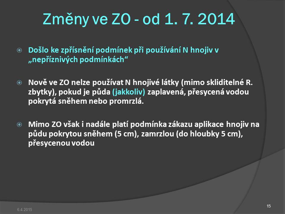 """Změny ve ZO - od 1. 7. 2014  Došlo ke zpřísnění podmínek při používání N hnojiv v """"nepříznivých podmínkách""""  Nově ve ZO nelze používat N hnojivé lát"""