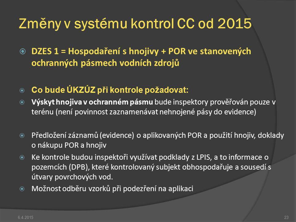  DZES 1 = Hospodaření s hnojivy + POR ve stanovených ochranných pásmech vodních zdrojů  Co bude ÚKZÚZ při kontrole požadovat:  Výskyt hnojiva v och