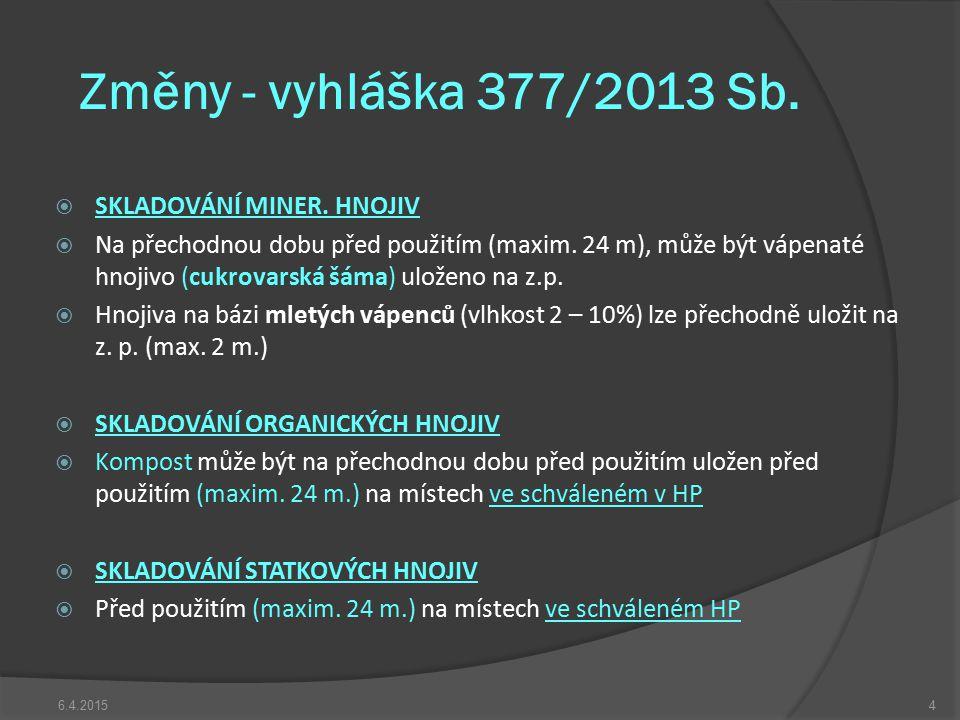 Změny - vyhláška 377/2013 Sb.  SKLADOVÁNÍ MINER. HNOJIV  Na přechodnou dobu před použitím (maxim. 24 m), může být vápenaté hnojivo (cukrovarská šáma
