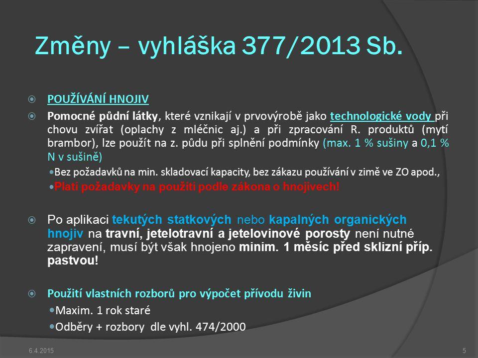 Změny – vyhláška 377/2013 Sb.  POUŽÍVÁNÍ HNOJIV  Pomocné půdní látky, které vznikají v prvovýrobě jako technologické vody při chovu zvířat (oplachy