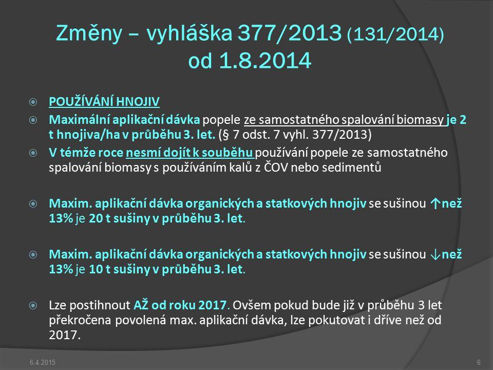 Změny – vyhláška 377/2013 (131/2014) od 1.8.2014  POUŽÍVÁNÍ HNOJIV  Maximální aplikační dávka popele ze samostatného spalování biomasy je 2 t hnojiv