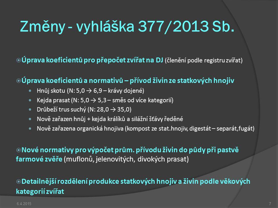 Změny - vyhláška 377/2013 Sb.  Úprava koeficientů pro přepočet zvířat na DJ (členění podle registru zvířat)  Úprava koeficientů a normativů – přívod