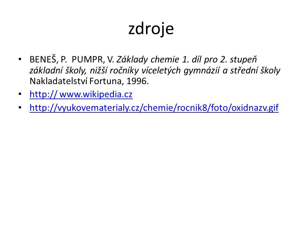 zdroje BENEŠ, P. PUMPR, V. Základy chemie 1. díl pro 2.
