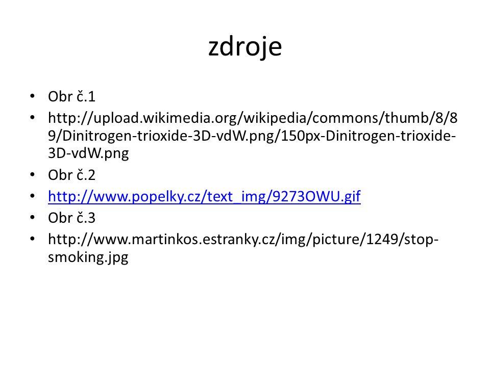 zdroje Obr č.1 http://upload.wikimedia.org/wikipedia/commons/thumb/8/8 9/Dinitrogen-trioxide-3D-vdW.png/150px-Dinitrogen-trioxide- 3D-vdW.png Obr č.2 http://www.popelky.cz/text_img/9273OWU.gif Obr č.3 http://www.martinkos.estranky.cz/img/picture/1249/stop- smoking.jpg