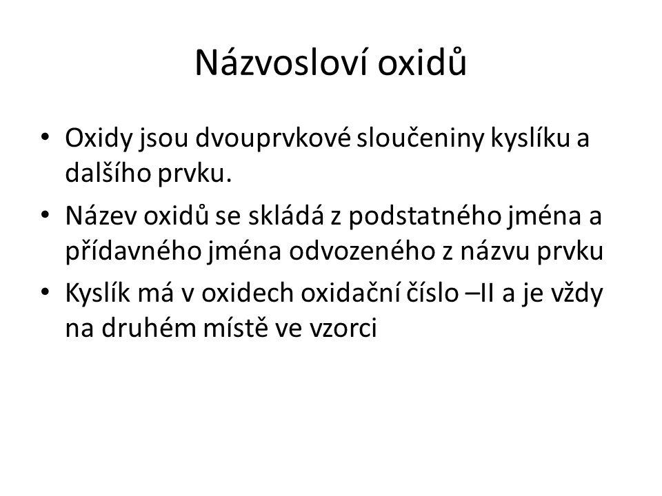 Koncovky oxidačních čísel Oxidační číslo Obecný vzorec KoncovkaPříkladVzorec I M2OM2O- nýoxid sodnýNa I 2 O -II II MO- natýoxid vápenatýCa II O -II III M2O3M2O3 - itýoxid hlinitýAl 2 III O 3 -II IV MO 2 - ičitýoxid uhličitýC IV O 2 -II V M2O5M2O5 - ečný - ičný oxid fosforečný oxid dusičný P 2 V O 5 -II N 2 V O 5 -II VI MO 3 - ovýoxid sírovýS VI O 3 -II VII M2O7M2O7 - istýoxid manganistýMn 2 VII O 7 -II VIII MO 4 - ičelýoxid osmičelýOs VIII O 4 -II