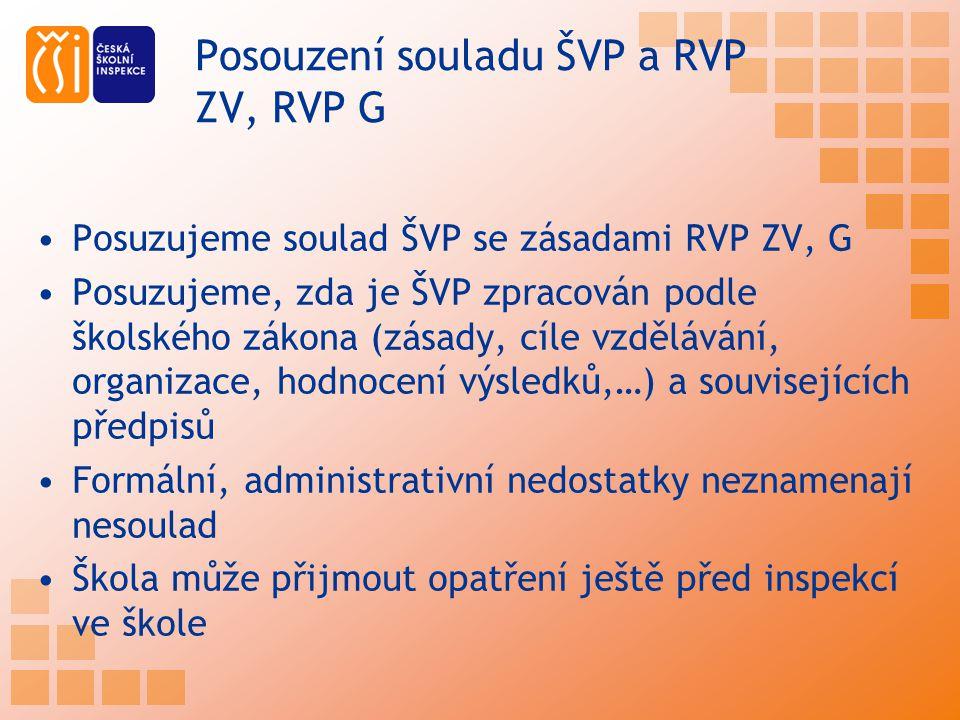 Posouzení souladu ŠVP a RVP ZV, RVP G Posuzujeme soulad ŠVP se zásadami RVP ZV, G Posuzujeme, zda je ŠVP zpracován podle školského zákona (zásady, cíl