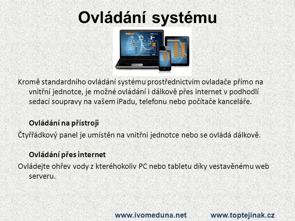 Ovládání systému Kromě standardního ovládání systému prostřednictvím ovladače přímo na vnitřní jednotce, je možné ovládání i dálkově přes internet v p